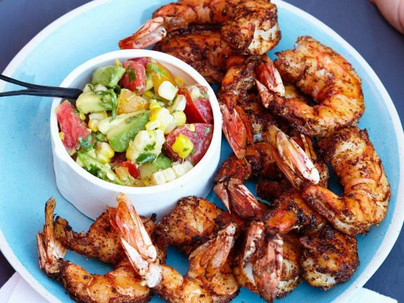 Grilled Prawns with Chopped Salad