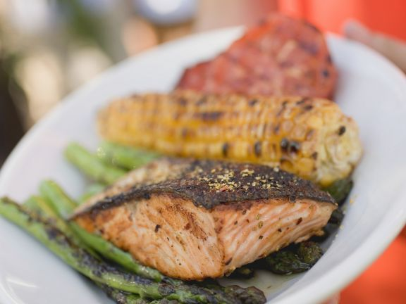 Grilled Salmon, Corn on the Cob and Mixed Vegetables