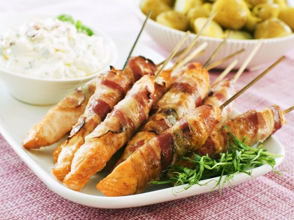 Grilled Salmon Skewers with Bacon
