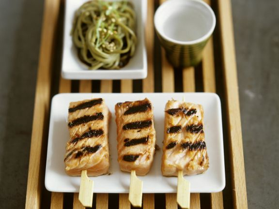 Grilled Salmon Skewers with Pasta