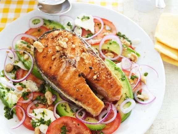 Grilled Salmon with Tomato Salad