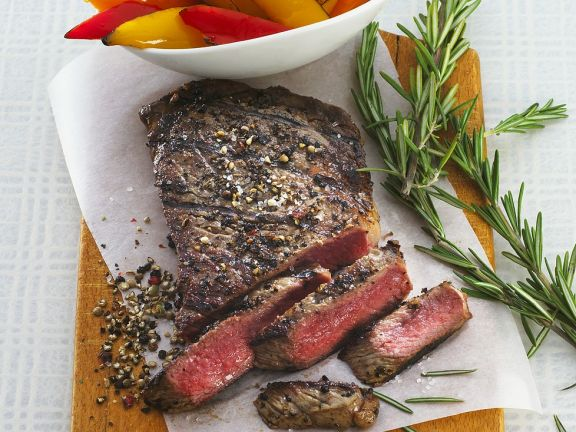 Grilled Steaks with Peppers