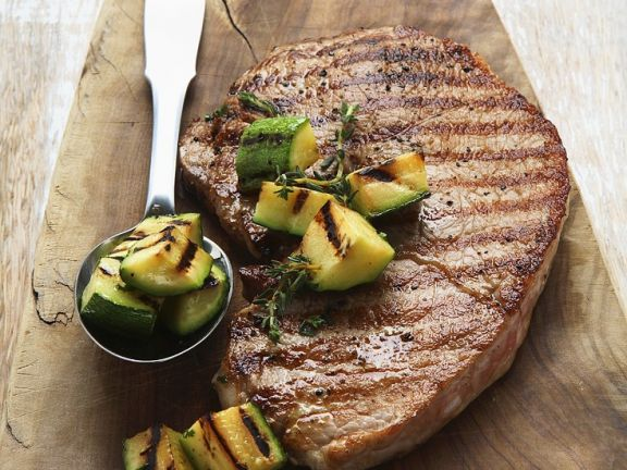 Grilled Veal Steak with Zucchini