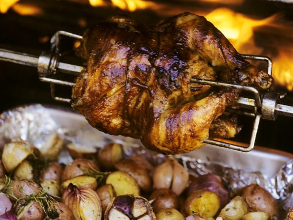 Grilled Whole Chicken with Potatoes
