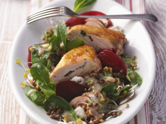 Guinea Fowl Breasts with Lentil Salad