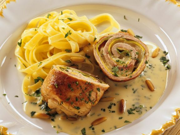 Ham and Cheese Stuffed Pork Rolls with Tagliatelle