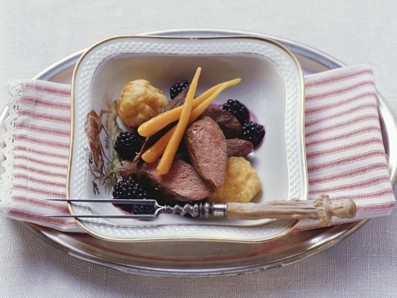 Hare with Carrots and Blackberry Sauce