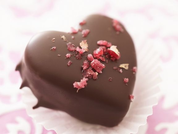 Heart-Shaped Chocolate Truffles with Rose Sugar