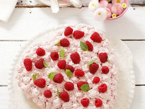 Heart-Shaped Raspberry Cake