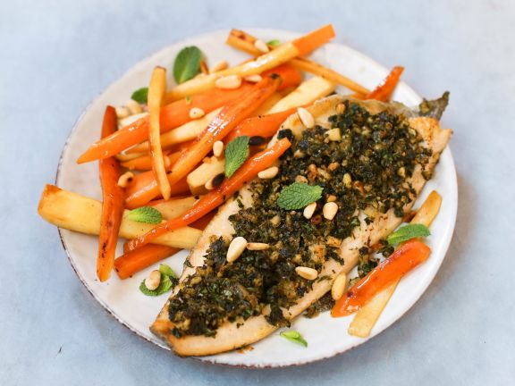 Herb Crusted Trout Filets with Parsnips and Carrots