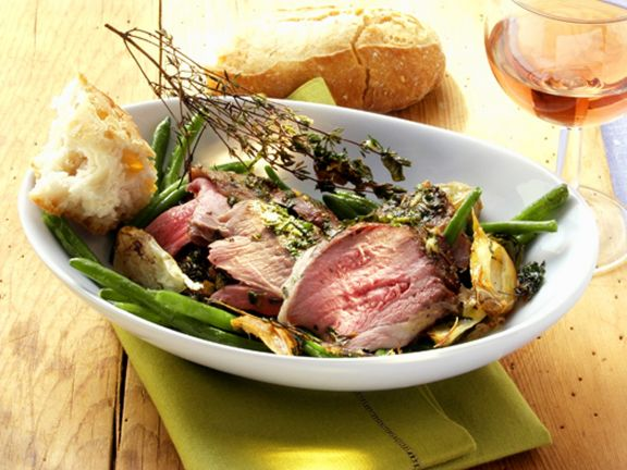 Herb Lamb and Green Beans