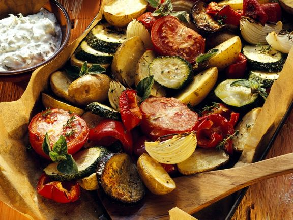 Roasted Vegetables with Herb Cream