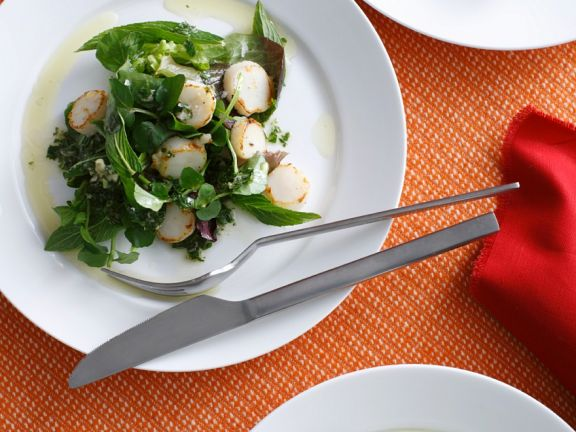 Herb Salad with Scallops
