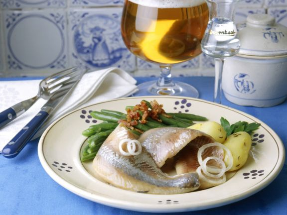 Herring with Bacon, Green Beans and Caraway Potatoes