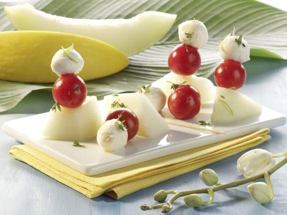 Honeydew, Mozzarella and Cherry Tomato Skewers