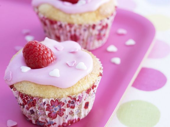 Iced Berry and Marzipan Cakes