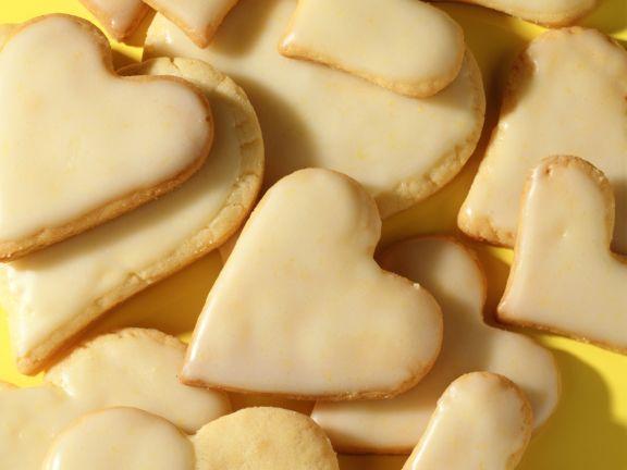 Iced Lemon Shortbread Hearts