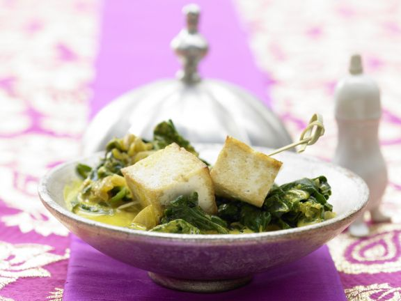 Indian Cheese in Coconut Spinach