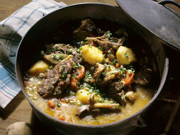 Braised lamb with potatoes and carrots is a hearty meal-in-one.