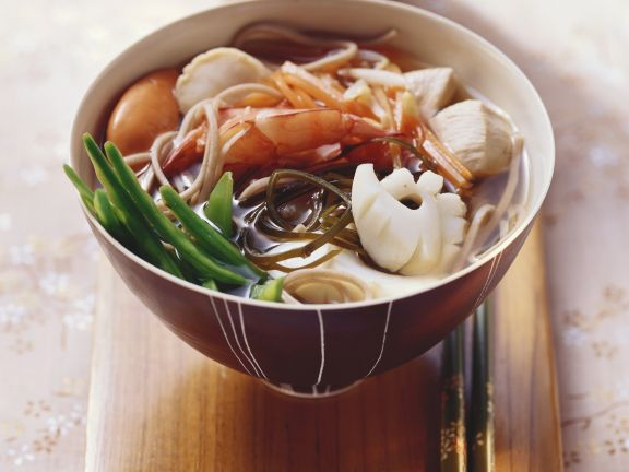 Japanese-style Seafood Soup with Soba Noodles