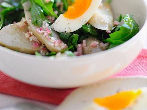 Jerusalem Artichoke Salad with Arugula and Egg