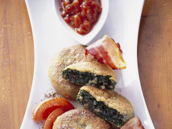 Kale Cakes with Bacon and Tomato Sauce