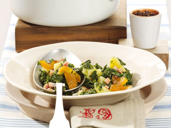 Kale Stew with Bacon and Apricots