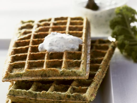 Kale Waffles with Herb Sauce