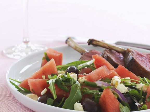 Lamb with Feta and Watermelon Salad