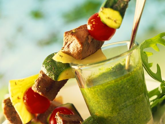 Lamb and Vegetable Skewers with Arugula Pesto