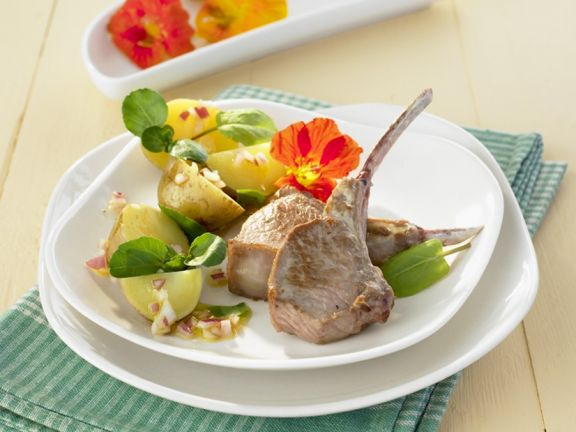 Lamb Chops with Potato and Herb Salad