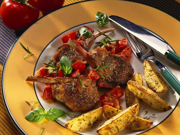 Lamb Chops with Potato Wedges and Tomatoes