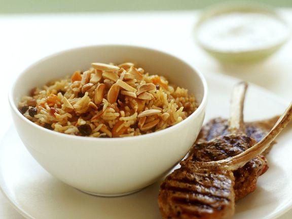 Lamb Chops with Savory Raisin Rice
