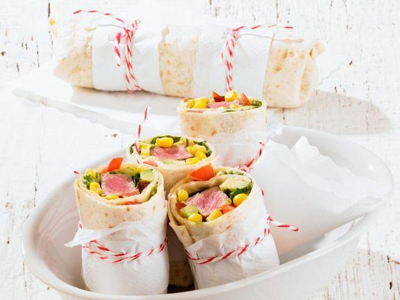 Lamb, Corn and Avocado Wraps