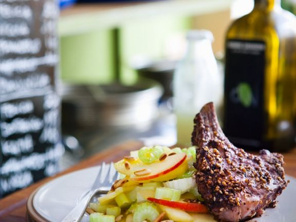 Lamb Cutlet with Apple and Celery Salad