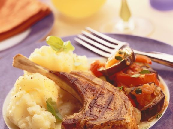 Lamb Cutlets with Ratatouille and Goat Cheese Mashed Potatoes