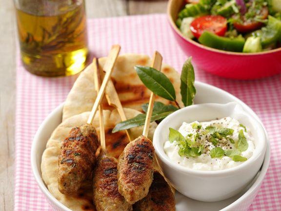 Lamb Kebab Skewers with Garnish