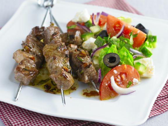 Lamb Kebabs with Green Salad