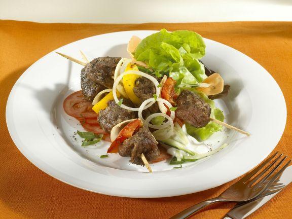Lamb Kebabs with Salad