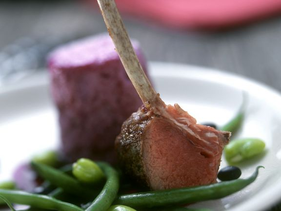 Lamb with Beet Soufflé and Mixed Beans