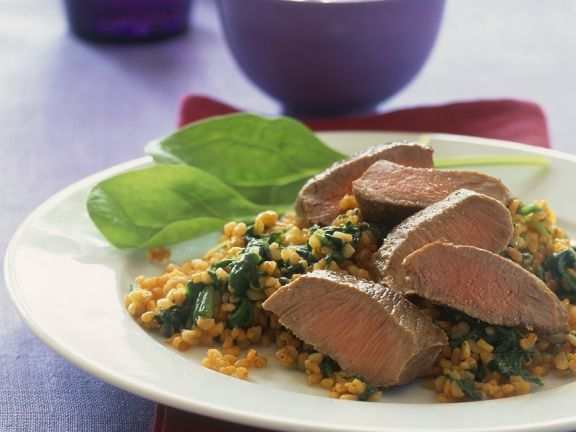 Lamb with Spinach Bulgur