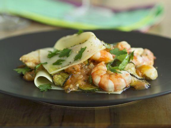 Lasagne with Zucchini, Scallops and Shrimp