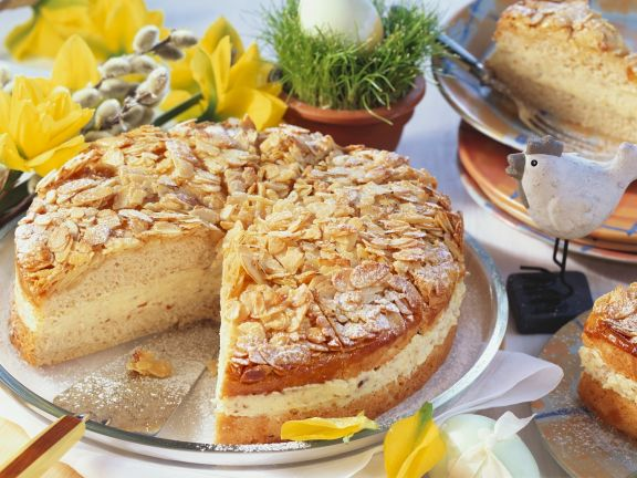 Layered Almond Cake with Honey Cream Filling