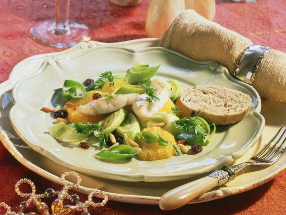 Leek and Orange Salad with Perch