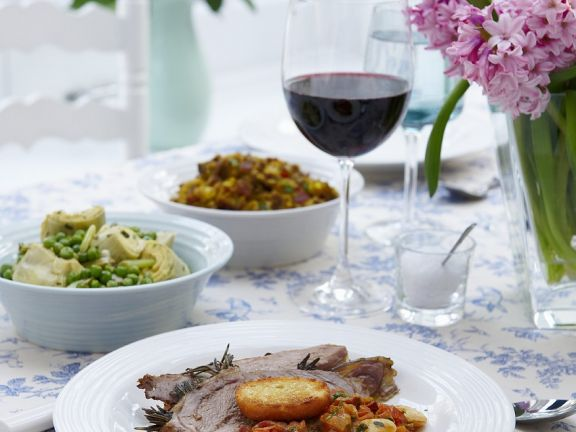 Leg of Lamb with Rosemary, Garlic and Beans