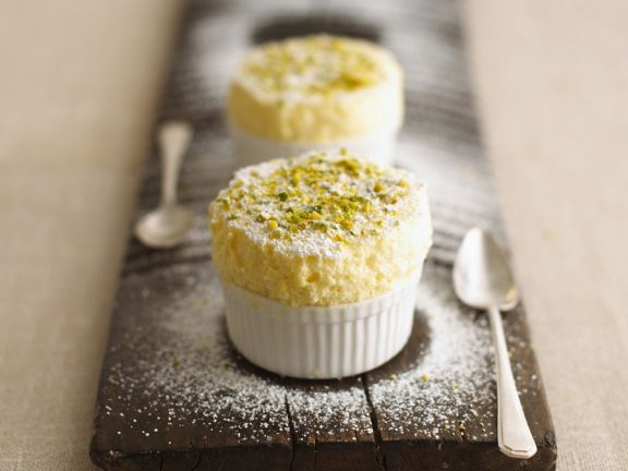 Lemon & Quark Soufflé with Pistachios and Icing Sugar