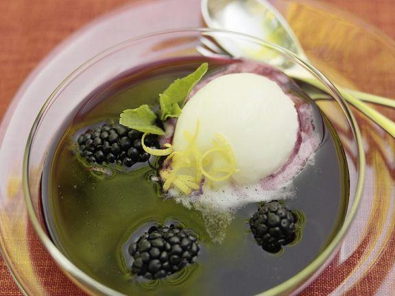 Lemon Sorbet with Berry Soup
