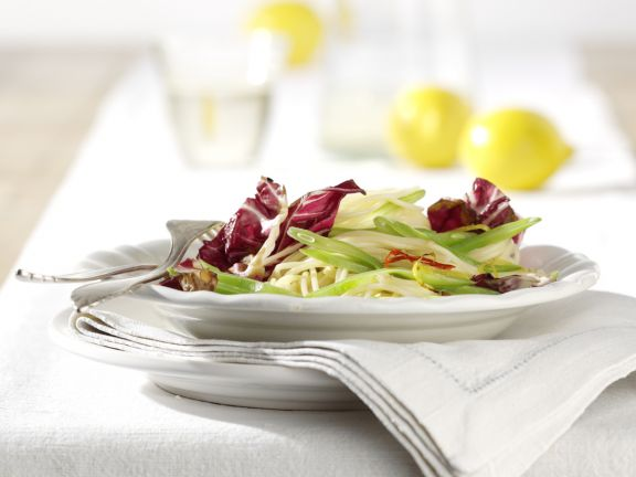 Lemon Spaghetti with Romano Beans and Radicchio