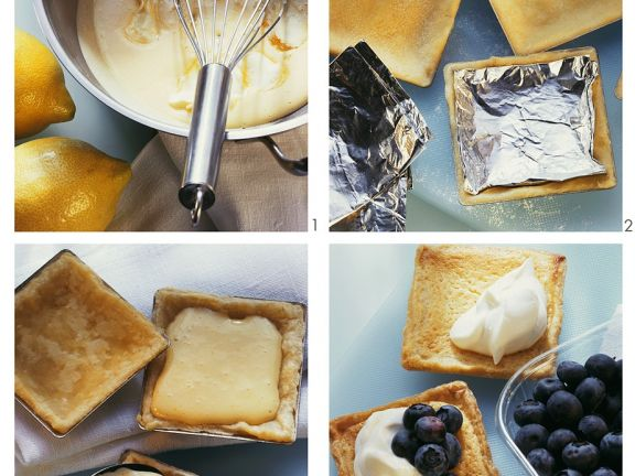 Lemon Tarts with Blueberries and Cream