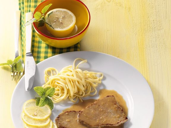 Lemon Veal Escalope with Pasta